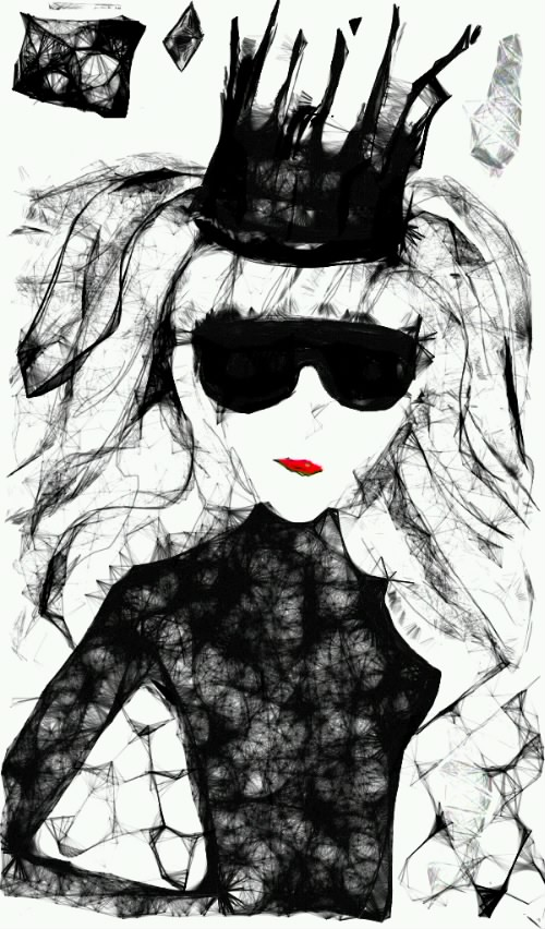 рисунок на планшете, графика, скетч, принцесса, skechers, рисунки карандашом, фото рисунки, девушка, красные губы, корона, мрачно, жестко, трагично